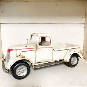 Antiqued White Metal Truck With Red Trim